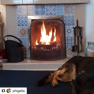 A hot fire burning in a tiled fireplace, with a German Shepherd dog sleeping in front