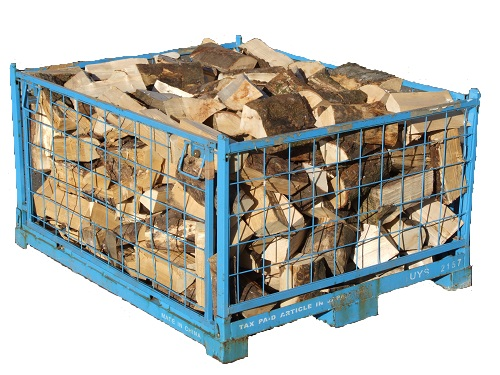 A blue cage of kiln-dried logs